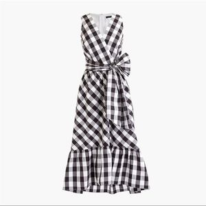 NWT J.Crew Faux Wrap Gingham Dress Cotton Poplin 4